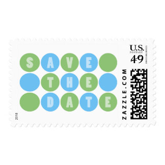 Retro Polka Dots Save The Date (Pale Blue / Green) Postage Stamps