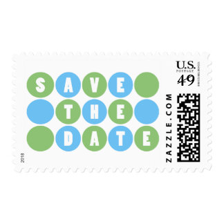 Retro Polka Dots Save The Date (Pale Blue/Green) Postage