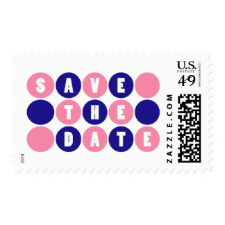 Retro Polka Dots Save The Date (Pale Pink / Blue) Postage Stamps