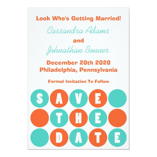 Retro Polka Dots Save The Date (Teal / Orange) Card