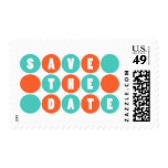 Retro Polka Dots Save The Date (Teal / Orange) Postage