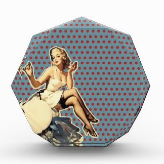Retro polka dots Vintage pin up girl Award