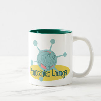 Retro Pomeranian Lounge Two-Tone Coffee Mug