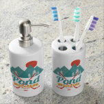 Retro Pond Hockey Bathroom Soap Dispenser & Toothbrush Holder