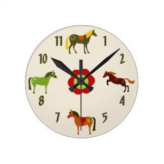 Retro Ponies Horse Wall Clock