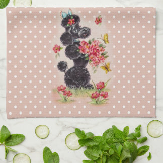 Retro Poodle Bubble Gum Pink  Kitchen Towel