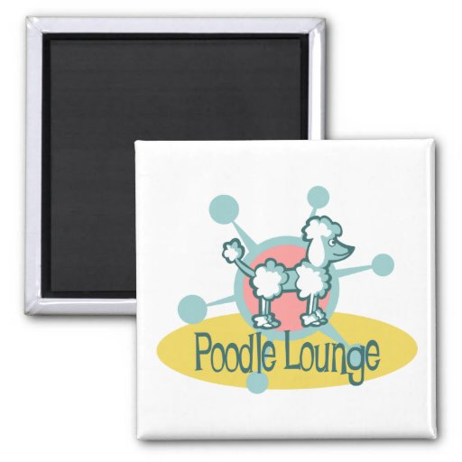 Retro Poodle Lounge 2 Inch Square Magnet