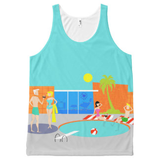 Retro Pool Party All-Over Print Unisex Tank Top
