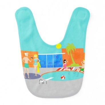 Beach Themed Retro Pool Party Baby Bib