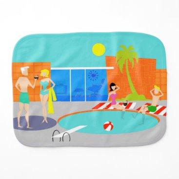 Beach Themed Retro Pool Party Burp Cloth