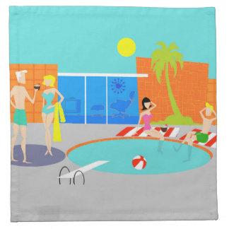 Retro Pool Party Cloth Napkins