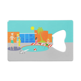 Retro Pool Party Credit Card Bottle Opener