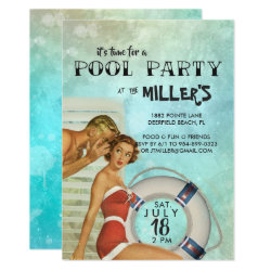 Retro Pool Party Invitation