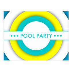 retro pool party invitation postcard