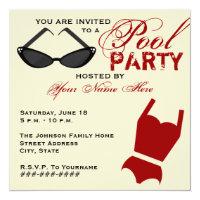 Retro Pool Party Invitation Swimsuit & Sunglasses