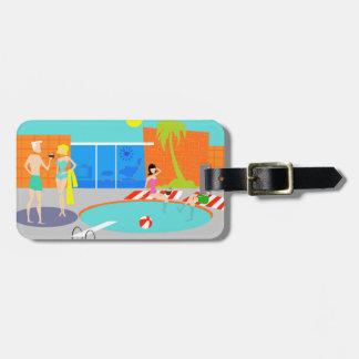 Retro Pool Party Luggage Tag