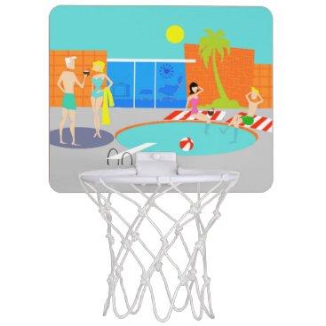 Beach Themed Retro Pool Party Mini Basketball Hoop