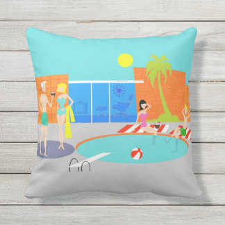 Retro Pool Party Outdoor Pillow
