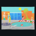 """Retro Pool Party Placemat<br><div class=""""desc"""">Come on in! The water is fine! This Retro Pool Party Placemat features a vibrant, cartoon drawing of a fun and sophisticated pool party. The mid century modern design centers around a round swimming pool on a large, gray, concrete patio. The pool is filled with turquoise water. Orange brickwork surrounds...</div>"""