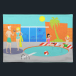 "Retro Pool Party Placemat<br><div class=""desc"">Come on in! The water is fine! This Retro Pool Party Placemat features a vibrant, cartoon drawing of a fun and sophisticated pool party. The mid century modern design centers around a round swimming pool on a large, gray, concrete patio. The pool is filled with turquoise water. Orange brickwork surrounds...</div>"
