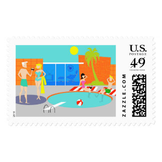 Retro Pool Party Postage Stamps