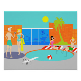 Retro Pool Party Poster