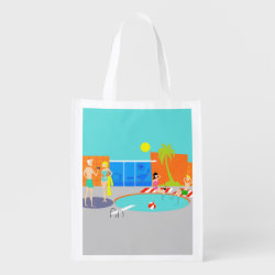 Retro Pool Party Reusable Grocery Bag