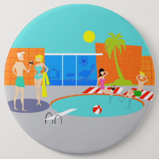 Retro Pool Party Round Button
