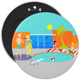 Retro Pool Party Round Button