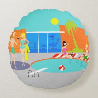 Retro Pool Party Round Pillow