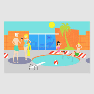 Retro Pool Party Stickers