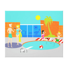 Retro Pool Party Stretched Canvas Print