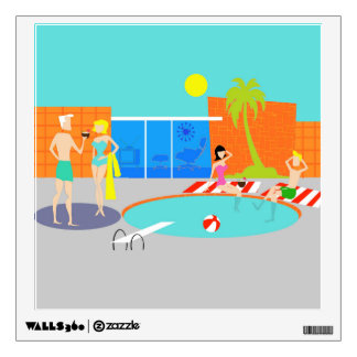 Retro Pool Party Wall Decal