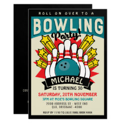 Retro Pop Art Bowling Birthday Party Invitation