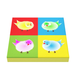 Retro Pop Art Colorful Little Chick Birds Picture Canvas Print