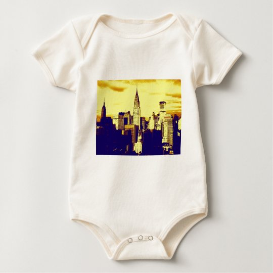 Retro Pop Art Comic New York City Baby Bodysuit