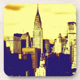Retro Pop Art Comic New York City Beverage Coaster