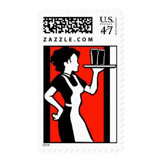Retro Pop Art Diner Waitress Stamp