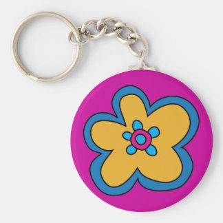 Retro Pop-Art Flower Keychain