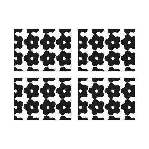 RETRO POP ART FLOWERS WALL ART, QUAD FRAME STRETCHED CANVAS PRINT