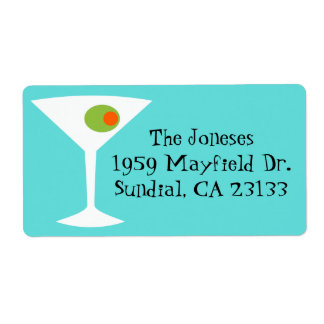 Retro Pop Art Martini Return Address Labels