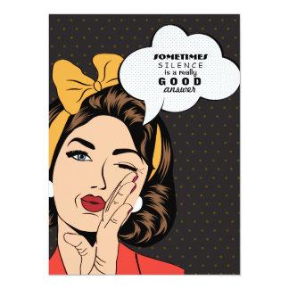 Retro Pop Art Woman Motivational Speech Bubble Card