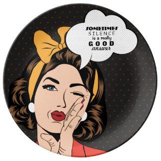 Retro Pop Art Woman Motivational Speech Bubble Plate