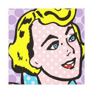 Retro Pop Art Woman Stretched Canvas Print