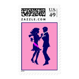 Retro Pop Disco Prom Invitation Dance Party Stamps