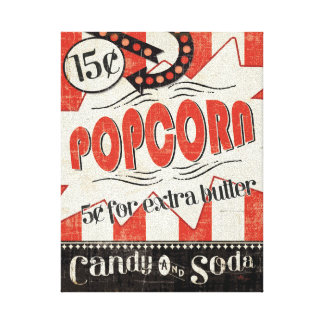 Retro Popcorn Stretched Canvas Prints