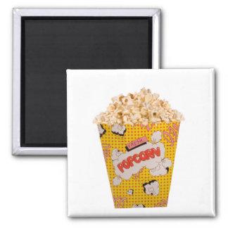 Retro Popcorn - Color 2 Inch Square Magnet