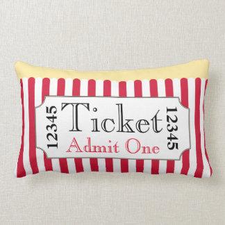 Retro Popcorn Movie Ticket Cinema Pillow