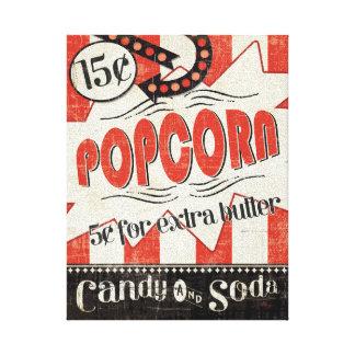 Retro Popcorn Stretched Canvas Prints