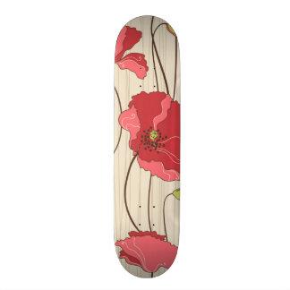 Retro Poppies Pattern Skateboard Deck